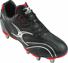NEW- GILBERT RUGBY- SIDESTEP ZENON HARD TOE RUGBY BOOTS- BLACK RED -SIZE 4- 15
