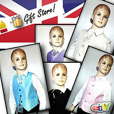 BOYS 4 PIECE SUIT WEDDING PARTY TROUSERS SHIRT WAISTCOAT TIE 3MTH - 14YEAR (110)