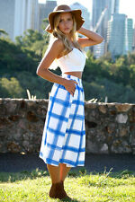 NEW On Top Blue and White Grid Print High Waisted Midi Skirt With Pockets Fab