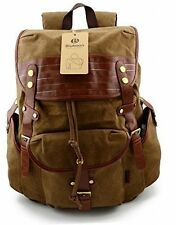 Vintage Backpacks Canvas Leather Rucksacks With Large Capacity Bags For (Khaki)