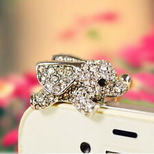 3.5mm 3D Elephant Crystal Anti Dust Earphone Plug Stopper Cap For iPhone Samsung