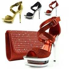 Womens Stilletto High Heel Red Open Toe  Diamond Decor Party Looks Platform Shoe