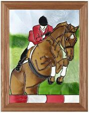 "Silver Creek Hunter / Jumper ~ 13.5"" x 16.5"" Horse Art Glass Suncatcher"