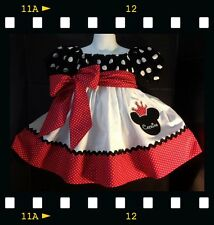 Crown Minnie Mouse Applique DRESS NAME  12m 18M 24M 2T 3T 4 5 6 Peasant sleeves