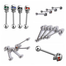 1pcs Skull Ball Tongue Bars Rings Barbell Body Piercing Jewelry Stainless Steel