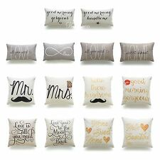 Decorative Throw Pillow Case His Her Love Wedding HEAVY WEIGHT Cushion Cover Set