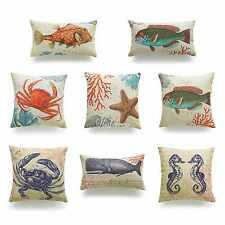 Decorative Throw Pillow Case Vintage Caribbean Sea Coral Beach Cushion Cover Set