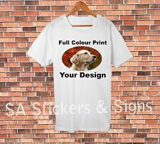 5x Custom Full Colour White T-shirts with your design for sports or car clubs