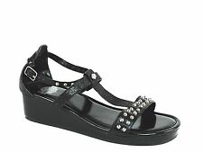 Harley Davidson Womens Wedge Sandal with Rivets Black Leather Synthetic US-6