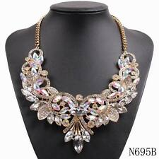 2017 girls black chain big chunky statement crystal pendant necklace for women