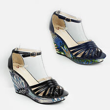 WOMENS LADIES PLATFORM WEDGE HEEL PEEP TOE ANKLE STRAP SHOES SANDALS SIZE 3-8