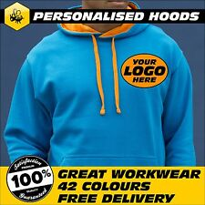 Builders Hoodie, Personalised Hooded Sweatshirt, Workwear, AWDis, Black/Fire Red