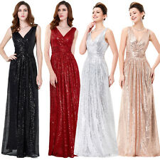 Long Sequin Dress Sexy V-Neck Evening Formal Wedding Bridesmaid Cocktail Gown