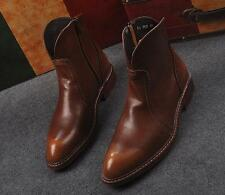 Western Mens Motorcycle Ankle Boots Cowboy Pointed Toe Riding Boots Side Zipper