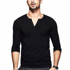 Mens Long sleeve V-neck Casual Cotton Slim Fitted T-shirt Basic Tee M L XL XXL