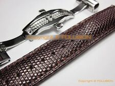 18 19 20 21 22mm Lizard Leather Watch Strap Band Deployment Buckle Clasp Brown