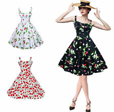 Womens Hepburn Style 50s 60s Vintage Rockabilly Cherry Print Party Swing Dress