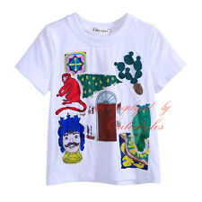 Boys Summer TEE T Shirt Cartoon Applique Kids Short Sleeved Top Age 2-9 Years