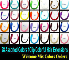 Colored Clip in Hair Extensions Colorful Hair Highlight Single Clip-in Hair