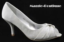 Satin Silver Diamante Wedding Prom Peeptoe Shoes UK 3 4 5 6 7 7.5