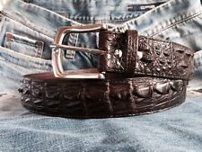 NEW REAL CROCODILE ALLIGATOR HORNBACK LEATHER SKIN BIKER MENS BELT  DARK BROWN