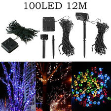 12M 100 LED Solar Powered Fairy String Lights Garden Christmas Trees Party Show