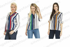 New Womens Italian Vertical Stripe Shirt Top Bead Tassel Zipped Long Sleeve Top