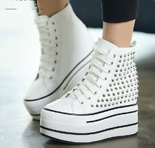 Chic Womens Fashion Sneaker Rivet Hidden Wedge High Top Platform Dance Boot Shoe