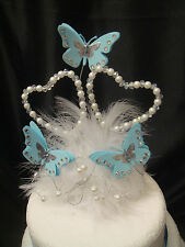 butterfly pearl crystal heart feather wedding anniversary birthday cake topper