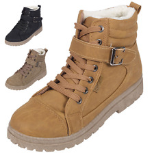 NEW WOMENS LADIES LACE UP FUR LINED WINTER HI ANKLE WARM BOOTS HIGH TOP TRAINERS