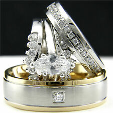 White gold plated 0.9 ct CZ Woman's Engagement Wedding Set & Man's Bridal Ring