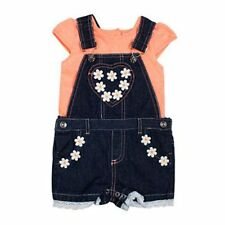 Baby Girl Denim Shortall/Overalls Set with Embroidered Daisies & Coral Shirt