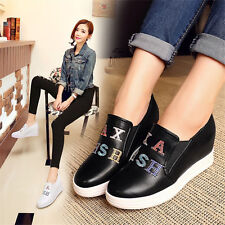 Womens Shoes Fashion Wedge Sneakers Round Toe Side Zip Sport Casual Shoe Oxfords