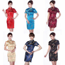 Fashion Chinese Women's Dragon&Phoenix Silk Cheongsam Mini Evening Dress Qipao