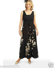 New JACQUES VERT Dress Black Chiffon Maxi Wedding Cruise Cocktail floral rp £169