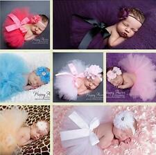 Newborn Baby Girl Flower Headband + Tutu Skirt Photo Photography Costume Prop