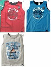NEW Adidas Boy Red/Blue Reversible /Gray Cotton Basketball Tee,Tank,Top-Sz 5, 6