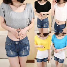 Women Chic Short Sleeve Loose T-shirt Crew Neck Crop Top Casual Blouse One Size