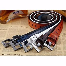 Fashion Men's Casual Drill-free Wide Cowhide Leather Belt Pin Buckle Waistband