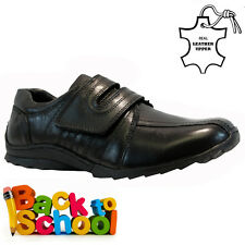 NEW BOYS KIDS LEATHER INFANT VELCRO CASUAL BLACK SCHOOL TRAINERS SHOES SIZE