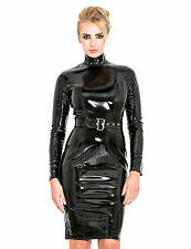 Honour Women's Pencil Dress in Black PVC Longsleeved Outfit with High Collar
