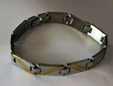POPULAR MENS STAINLESS STEEL GOLD STYLE SILVER LINK WRISTBAND BANGLE BRACELET,