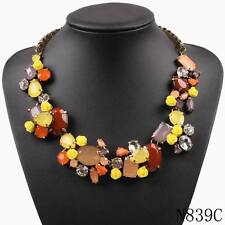 2017new design flower crystal necklace summer colorful choker statement necklace