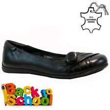 NEW GIRLS LADIES LEATHER BALLERINA BALLET CASUAL BLACK SCHOOL SHOES SIZE 1-6