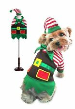 Santa's Elf Christmas Theme Dog Costume Stripe Shirt and Apron With Matching Hat