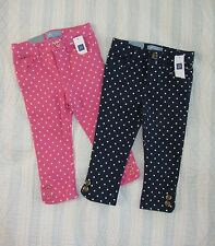 NWT BABY GAP Polka Dots Skinny Jeans Baby Girl 3T Blue Pink Denim Button Hem