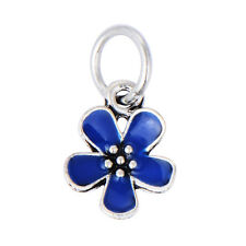 5PCS silver plated charms beads Rainbow Enamel Cute Flower fit bracelet lot