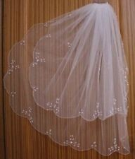 2T White/ivory Elbow Beaded Edge pearl sequins flower Bridal Wedding Veil vail