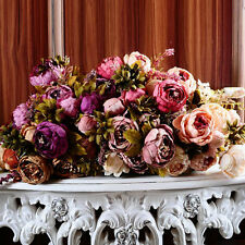 Bouquet Artificial Peony Silk Flowers Leaf Home Garden Wedding Party Decoration
