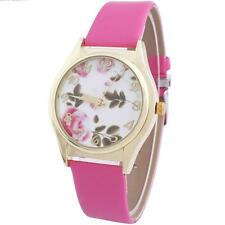 Women's Faux Leather Band Rose Flower Quartz Ladies Wrist Watches New Fashion